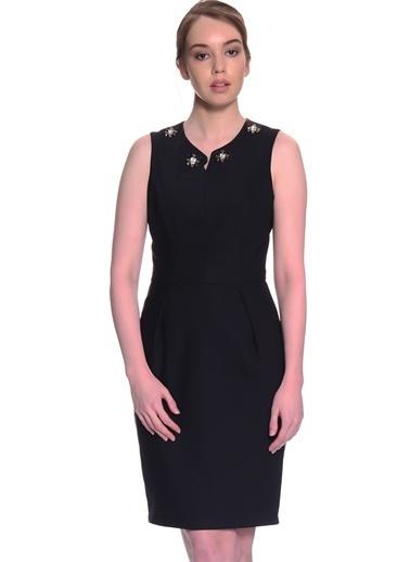 Fabrika Kolsuz Kalem Elbise Siyah